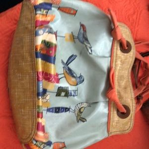 Fossil shoulder bag/ cheerful bird design
